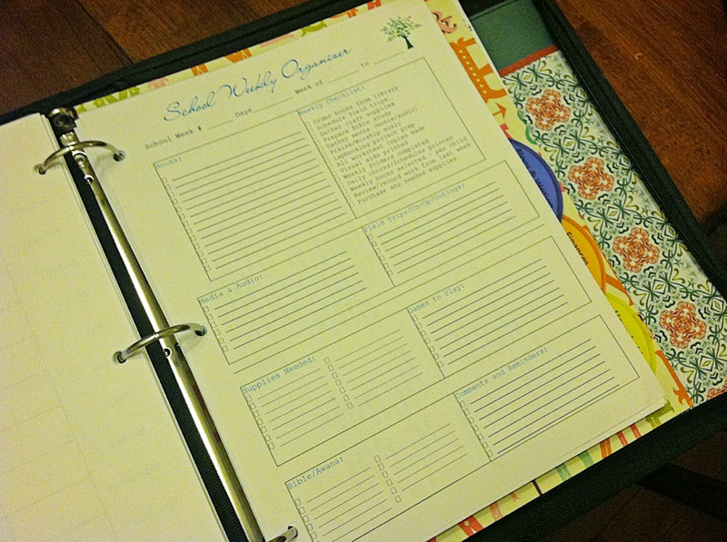 Homeschool Weekly Organizer